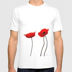 Simply poppies White MEDIUM Mens Fitted Tee