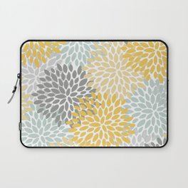 Floral Pattern, Yellow, Pale, Aqua, Blue and Gray Laptop Sleeve