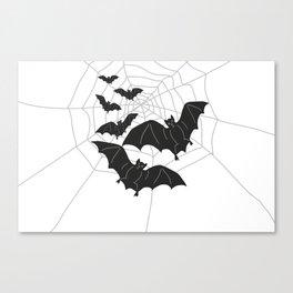Black Bats with Spider Web Halloween Canvas Print