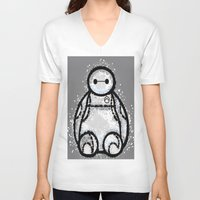 baymax V-neck T-shirts featuring Baymax by grapeloverarts