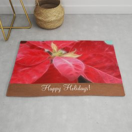 Mottled Red Poinsettia 2 Happy Holidays S1F1 Rug