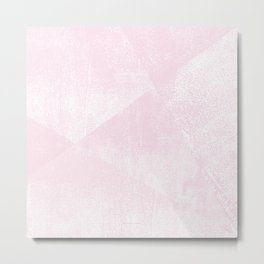 Pastel Pink and White Geometric Lino-Textured Print Metal Print