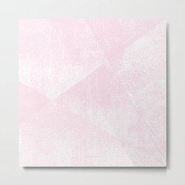 Pastel Pink and White Geometric Lino-Textured Print Metal Print
