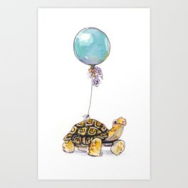 Birthday Tortoise Art Print