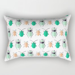 BEETLES ((seafoam green, emerald, melon)) Rectangular Pillow