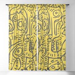 Yellow Street Art Graffiti Train Ticket Sheer Curtain