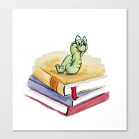 bookworm Canvas Prints featuring Bookworm by Melissa Wright