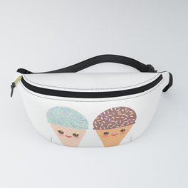 Ice cream waffle cone Kawaii funny muzzle with pink cheeks and winking eyes, pastel colors Fanny Pack