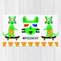 """Psychedelic Skateboarding Ugly Christmast Sweater Pixel Pizza Cat"", by Brock Springstead by brockspringstead"