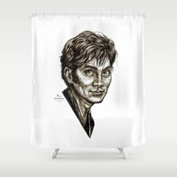 david tennant Shower Curtains featuring David Tennant - Doctor Who - Allons-y (Drawing) by ieIndigoEast