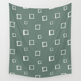 Hand Drawn Abstract Square Pattern - Viridian Green Wall Tapestry