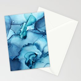The Blue Abyss - Alcohol Ink Painting Stationery Cards