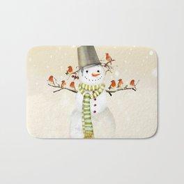 Snowman and Birds Bath Mat