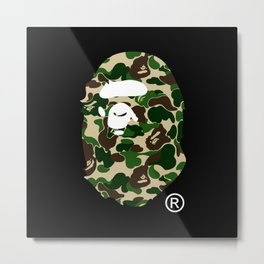 Bape Head Camo Metal Print
