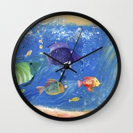 Salty Toes, Slippery Fish. Wall Clock