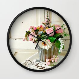 Flowers on Display Wall Clock