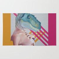 queer Area & Throw Rugs featuring Queer Dinosaur by Kim Leutwyler