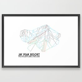 Jay Peak, VT - Minimalist Trail Art Framed Art Print