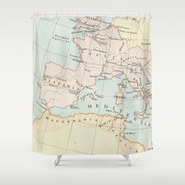 Vintage Map Of The Roman Empire Shower Curtain