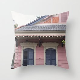 New Orleans Pink Creole Cottage Throw Pillow