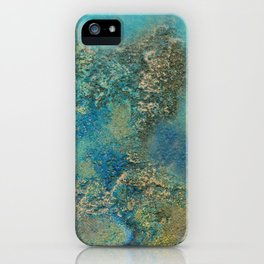 Blue And Gold Modern Abstract Art Painting iPhone Case