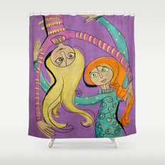 Flying Hug Shower Curtain