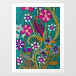 Starry Floral Felted Wool, Turquoise and Pink Art Print
