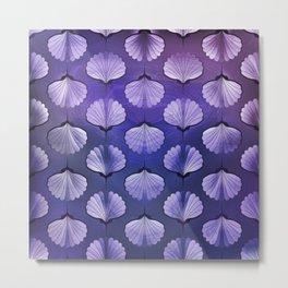 Blue sea seashell geometric pattern Metal Print