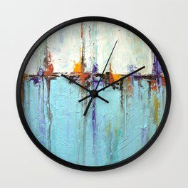"""Abstract White and Blue Painting – Textured Art – """"Sailing""""  Wall Clock"""