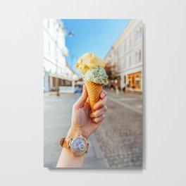 Woman Holding Ice Cream, Green Pistachio And Yellow Melon, Ice Cream Cone, Travel Photo Metal Print