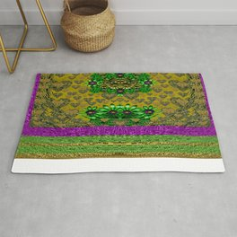 Floral and gold hearts and rainbows Rug