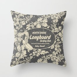 Club Surfing Longboard Logo and Hibiscus Hawaiian Print  Throw Pillow