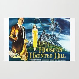 House on Haunted Hill, vintage horror movie poster Rug