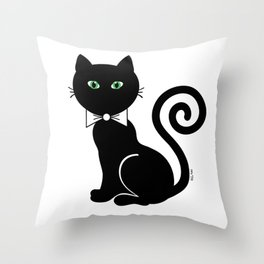 Bow Tie Cat Throw Pillow