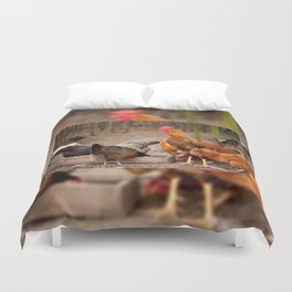 Rhode Island Red chickens eating Duvet Cover