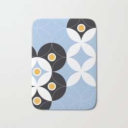 Blue White Black Greek Modern Mosaic Bath Mat