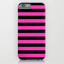 Hot Pink and Black Stripes iPhone Case