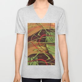 Wires- Abstract Texture Collage Unisex V-Neck