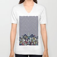 twin peaks V-neck T-shirts featuring Twin Peaks by Ale Giorgini