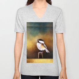 Chickadee in Morning Prayer Unisex V-Neck