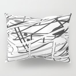 music note sign pattern abstract background in black and white Pillow Sham