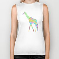 giraffe Biker Tanks featuring Giraffe by nessieness