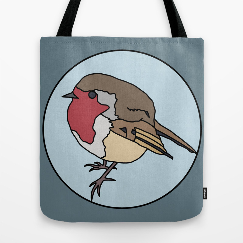 Robin - Robin Redbreast (blue) Tote Bag by Mothpathtags (TBG8922183) photo