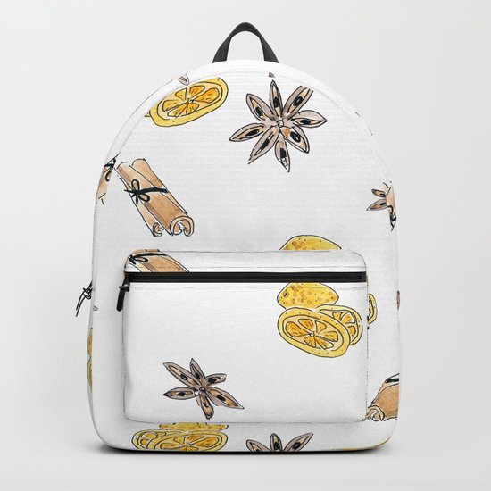 Seamless pattern with lemon slices and spices Backpack