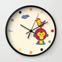 The Monkey and The Rooster  Wall Clock