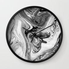 Mizuki - spilled ink marbling paper marble swirl abstract painting original art india ink minimal Wall Clock