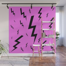 Black and Pink Lightning Bolt Wall Mural