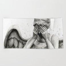 Weeping Angel Watercolor Painting Beach Towel