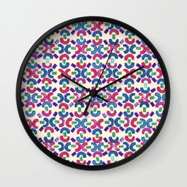 Chain Rubber Stamp Pattern Design (Light Yellow Background) Wall Clock
