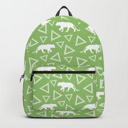 Wild African walking lioness silhouettes and abstract triangle shapes. Stylish classy bright olive green seamless retro vintage geometric animal nature pattern. Backpack